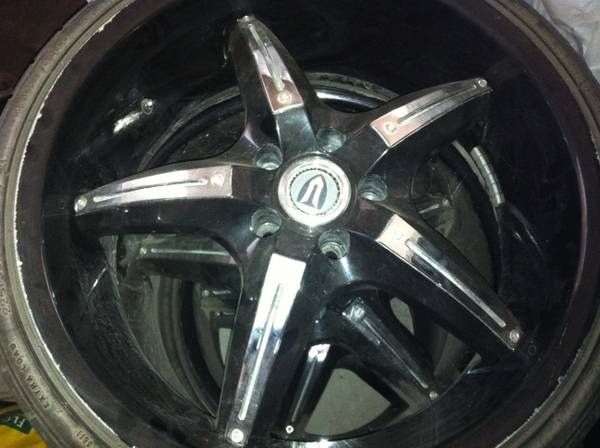 4-20s 5lug 114.5 pattern black n chrome - $900 (Yuma AZ (Walmart ave b))