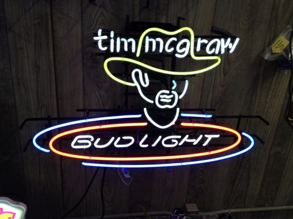 TIM MCGRAW BUD LIGHT NEON SIGN- HARD TO FIND (Yuma, Az.)